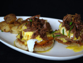 Duck Confit Benedict with Smoked Cheddar, Hollandaise, Breakfast Potatoes at Ad Lib in Harrisburg