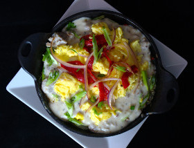 Potato Casserole with Sausage Gravy, Scrambled Eggs, Pequillo Peppers, Grilled Onion at Ad Lib brunch in Harrisburg
